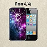 iPhone Case Cracked Screen Prank for iPhone 4 /4s Plastic Black (Ships from CA)