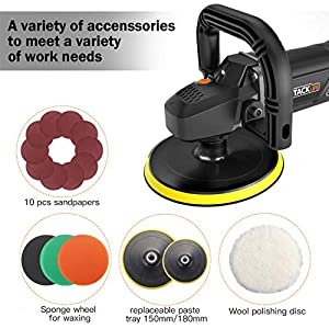 Polisher, TACKLIFE 7Inch/6Inch 12.5Amp Variable Speed Polisher, With Digital Screen, Lock Switch, Detachable Handle, Ideal for Car Sanding, Polishing, Waxing, Sealing Glaze - PPGJ01A (Color: Black Orange, Tamaño: TACKLIFE Polisher)
