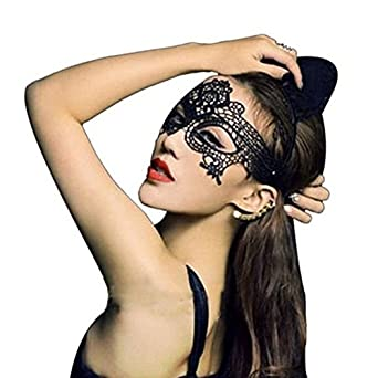 Comemall Halloween Masquerade Dance Face Mask Cutout Lace