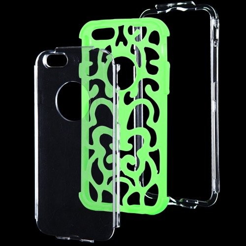 Apple Iphone 6 T Clear Electric Green Brick Hybrid Glo Cover Snap On Hard Case Cell Phone Shield Protector Shell From [Accessory Library]
