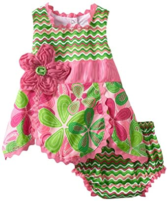 Mud Pie Baby-Girls Newborn Little Sprout Petal Top and Bloomer Set, Multi-Colored, 12-18 Months
