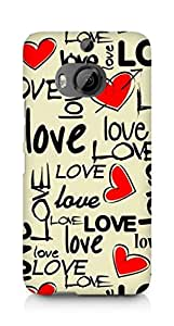 Amez designer printed 3d premium high quality back case cover for HTC One M9+ (Love art texture colorful heart)
