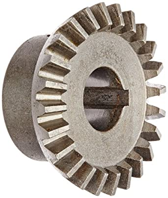 "Boston Gear HL148Y-G Bevel Gear, 2:1 Ratio, 0.500"" Bore, 16 Pitch, 24 Teeth, 20 Degree Pressure Angle, Straight Bevel, Keyway, Steel with Case-Hardened Teeth"
