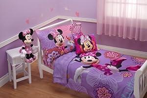 Disney 4 Piece Minnie's Fluttery Friends Toddler Bedding Set, Lavender from Crown Crafts Inc