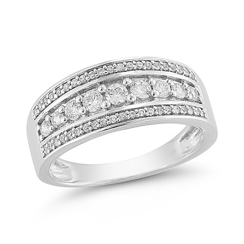 14k White Gold Diamond Ring (1/2 cttw H I Color, I1 I2 Clarity), Size 6