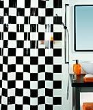 Spirella 10.00377 Matto Black - Cortina para ducha de vinilo (180 cm x 200 cm)