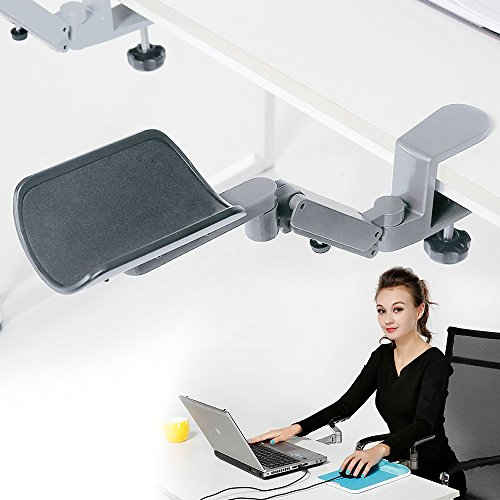 Wrist Rest - Tuned Both Horizontal and Vertical Direction - Upgrade eLink Pro® Ergonomic Arm Support - Fashionable Aluminium Alloy Computer Armrest_Silver