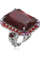 """Sorrelli """"Cranberry"""" Luxurious Emerald-Cut Cocktail Ring"""