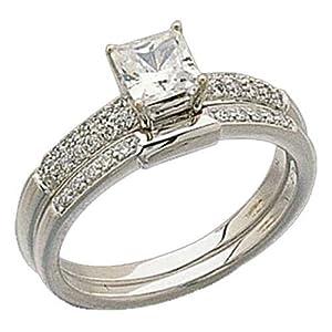 Amazon 1 4 CtTW Round Brilliant Cut Diamonds 14Kt White Gold Wedding Ring Set Semi