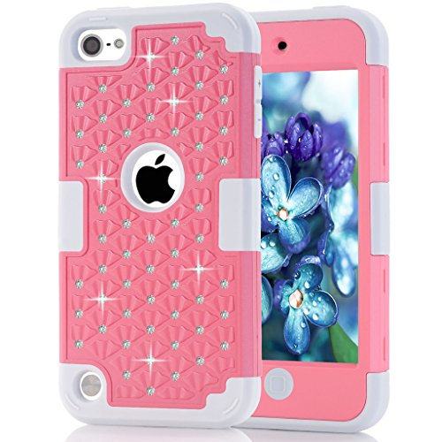 iPod touch 5 Case, iPod touch 6 Case, HOcase Rhinestone-Studded Bling Series, Dual Layer of Hard PC and Soft Silicone Protective Case for iPod touch 5th & 6th Gen - Light Pink+Grey (Ipod 5 Cases Protective For Girls compare prices)