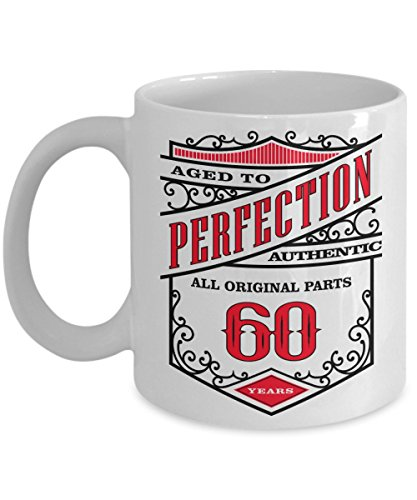 60th Birthday Gift For Men, Women - Coffee Mug - Aged To Perfection 60 Years - Amazing Present Idea For Him and Her - Great Quality Ceramic Cups For Coffee, Tea, Milk & More - 11oz (Mustache Disposable Coffee Cups compare prices)