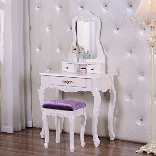 woltu schminktisch mit spiegel und hocker 3 schubladen modern kosmetiktisch frisiertisch 143 x. Black Bedroom Furniture Sets. Home Design Ideas