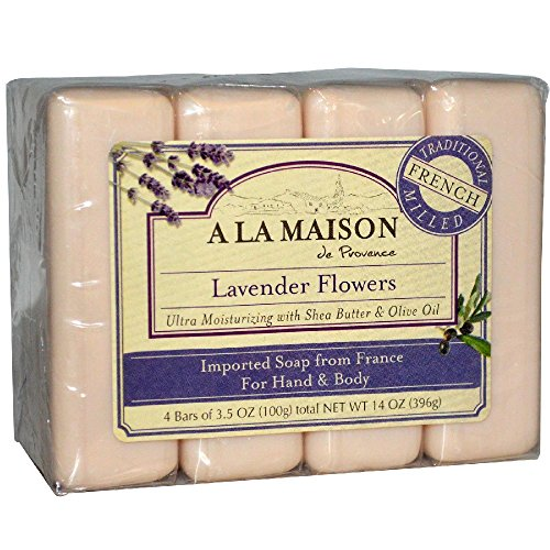 A La Maison Soap Bars, Lavender Flowers, 3.5 oz, Value Pack, 4 Count - 1