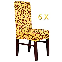 6 Piece Spandex Print Chair Cover Slipcovers Wedding Banquet Anniversary Party Home Decoration,Yellow Coffee