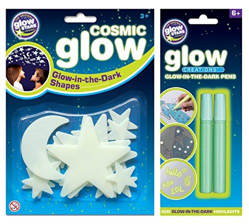 The Original Glowstars Company Cosmic Glow - Juego de luna, estrellas y rotuladores con brillo en la oscuridad