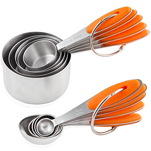 Chef U Measuring Cups and Spoons - Set of 10 Pieces - Premium Quality - Sturdy Build, Lightweight, Rust Proof - Engraved Measurements, Food Grade Silicone Grip - Can be Nested and Stacked (Orange) (Fat Chef Kitchen Stuff compare prices)