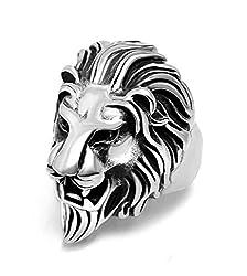 Sorella'z Vintage Silver Lion's Head Ring for Men's
