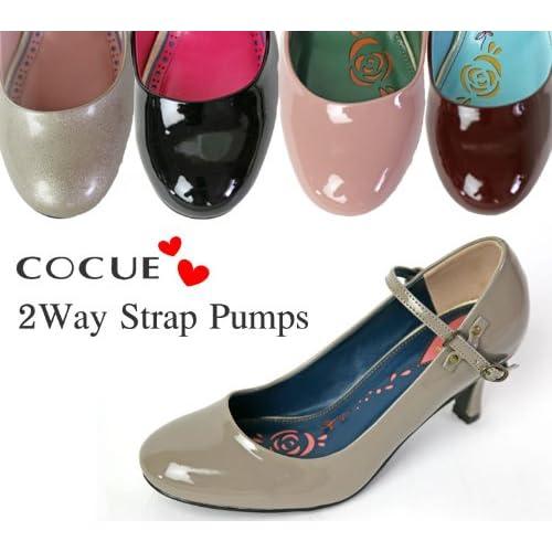 (コキュ) COCUE 2WAY エナメル ストラップ パンプス シューズ (23019) 22.5cm(25) ピンク(071)