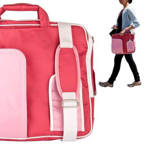 Stylish ASUS K53U 16 Inch Notebook Accessories Pindar Shoulder Bag with Removable Shoulder Strap in New York Pink with Cloud White Trim