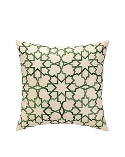D.L. Rhein Moroccan Star Embroidered Pillow, Green