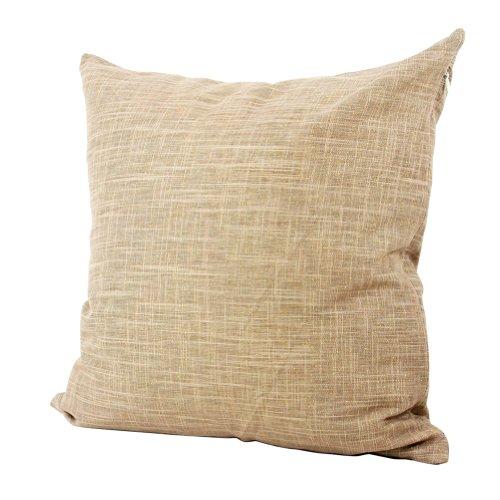 Lavievert Decorative Ramie Cotton Square Toss Pillowcase Cushion Cover Handmade Khaki Twinkling Throw Pillow Case With Hidden Zipper Closure 20 X 20 Inches back-485302