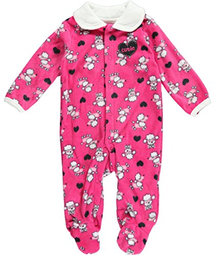 """Buster Brown Baby Girls' """"Poodle Pounce"""" Footed Coverall - Dark Pink, 6 - 9 Months front-895267"""