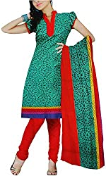 Majaajan Women's Cotton Self Print Unstitched Salwar Suit Dress Material (BNSL0581GRN, Green, Freesize)