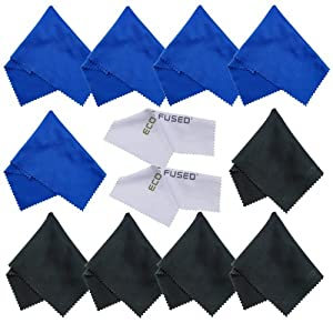 ECO-FUSED® 12 Piece Pack of Microfiber Cleaning Cloths for use with Cell Phone, Tablets, Laptops, Glasses, Lenses and Other Delicate Surfaces - One Year Guarantee (blue / black)