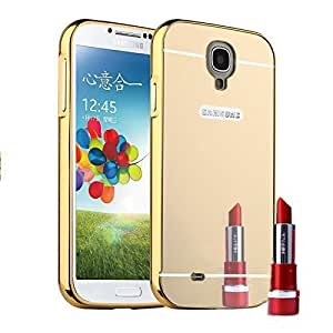 Carla Branded Luxury Metal Bumper + Acrylic Mirror Back Cover Case For Samsung S5 Gold + Mini Aux wired Selfie Stick.