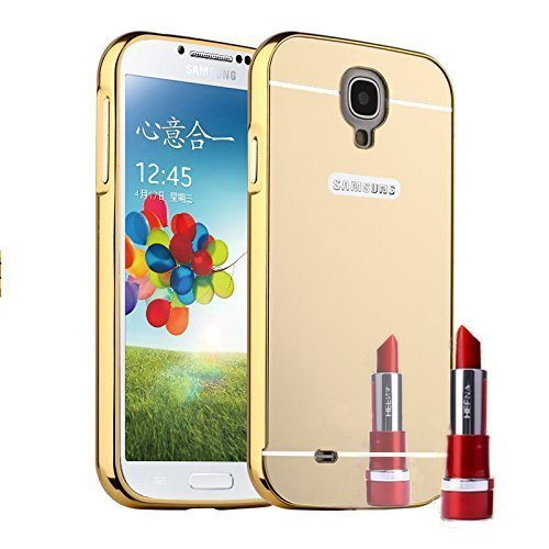 Aart Mirror Back Luxury Mirror Effective Acrylic Back Metal Bumper Case Cover for Samsung S4 + Mini Aux wired Selfie Stick Combo Set by Aart store  available at amazon for Rs.399