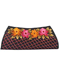 Soulful Threads Hand Clutch In Cotton Silk Fabric With Elegant Embroidery - B01N66ORYB