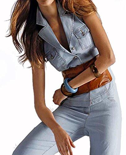 ALBA MODA donna-camicia Jeans-camicette gilet blu blu chiaro 44