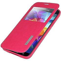 Amzer 96961 Flip Case with Swipe Window - Hot Pink for Samsung GALAXY S5 SM-G900