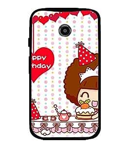 Printvisa Happy Birthday Kitty Girl Back Case Cover for Motorola Moto E2::Motorola Moto E (2nd Gen)