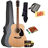 Fender Starcaster Acoustic Guitar Bundle with Gig Bag, Instructional DVD, Strap, Picks, Strings, Tuner, and Polishing Cloth - Natural