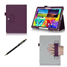 ProCase Samsung Galaxy Tab S 10.5 Case - Bi-Fold Flip Stand Cover Case exclusive for 2014 Galaxy Tab S Tablet (10.5 inch, SM-T800), with Hand Strap, auto Sleep/Wake (Purple)