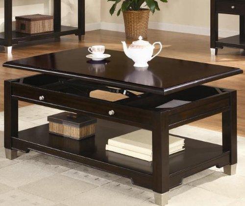 Coaster Cermak Contemporary Square Black Metal Base Glass: BLACK LIFT TOP COFFEE TABLE : TOP COFFEE TABLE