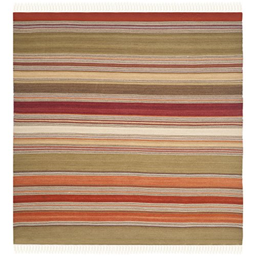 Safavieh Striped Kilim Collection STK317A Hand Woven Green Wool Square Area Rug, 7 feet Square (7' Square)