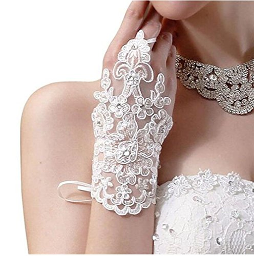 YSFS Women's Lace Satin Fingerless Bridal Gloves for Wedding Party Ivory