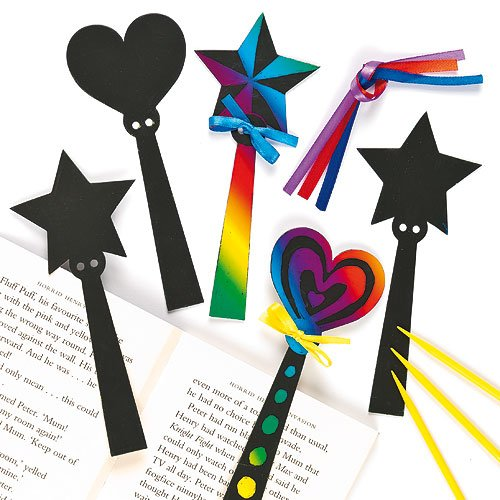 Magic Wand Scratch Art Bookmarks Hearts Stars Children's Craft Activities (Pack of 12) (Make Your Own Wand compare prices)