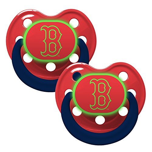 Boston Red Sox Glow in Dark 2-Pack Baby Pacifier Set - MLB Infant Pacifiers