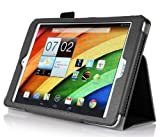 IVSO Slim-Book Stand Cover Case for Acer Iconia A1-830 7.9-Inch Tablet with Card Holder / Hand Strap (For Acer Iconia A1-830, Black)