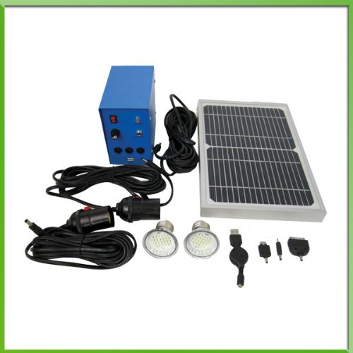 Solar Led Lighting System- 2 X 40W Comparable Led Lights, 5W Solar Panel, 5Ah Battery, Charge Controller, Usp Port With Cell Phone Chargers Included