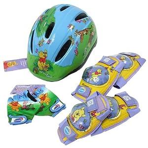 Winnie the Pooh 7teiliges Fahrrad Helm Set Heffalump und Winnie Puuh Groesse: 47-55 cm Farbe: hellblau Lieferumfang: 1 Helm, 2 Ellenbogenschoner, 2 Knieschoner und 1 Paar Fahrrad-Handschuhe