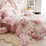 FADFAY Home Textile,Romantic Rose Print Bedding Sets,Blue Pink Bedding Sets,Princess Lace Ruffle Bedding Set,Twin/Full/Queen/King Bedroom Set,4Pcs Bed Set (Pink, 5ft bed)