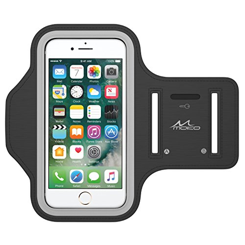 iPhone 6s Armband, iPhone 6 Armband, MoKo Sports Exercise Running Armband with Key Holder & Card Slot Sweatproof Gym Jogging Fitness Arm Band Case Cover, BLACK (Fits Other Cellphones up to 5.2