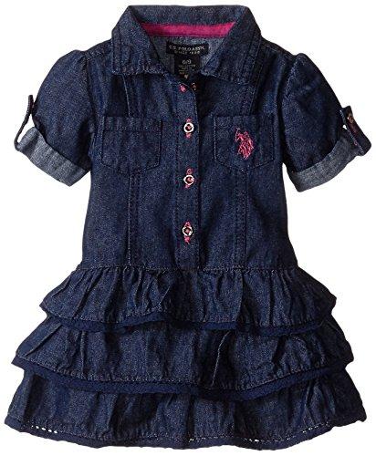 U S Polo Assn Baby Girls Newborn Denim Ruffle Tiered Dress Pink