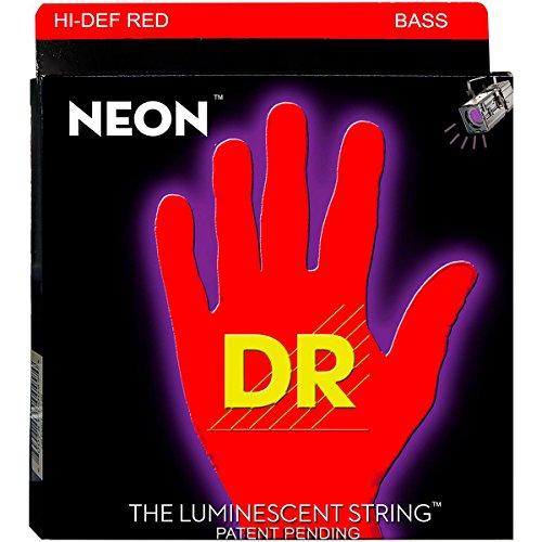 Dr Handmade Strings Nrb5-45 K3 Neon Hi-Def 5 Bass Guitar Strings, Medium, Red