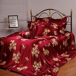 orifashion sfs004 seide bettlaken burgundy mit gold blumen. Black Bedroom Furniture Sets. Home Design Ideas