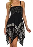 Sakkas Batik Handkerchief Hem Short Dress